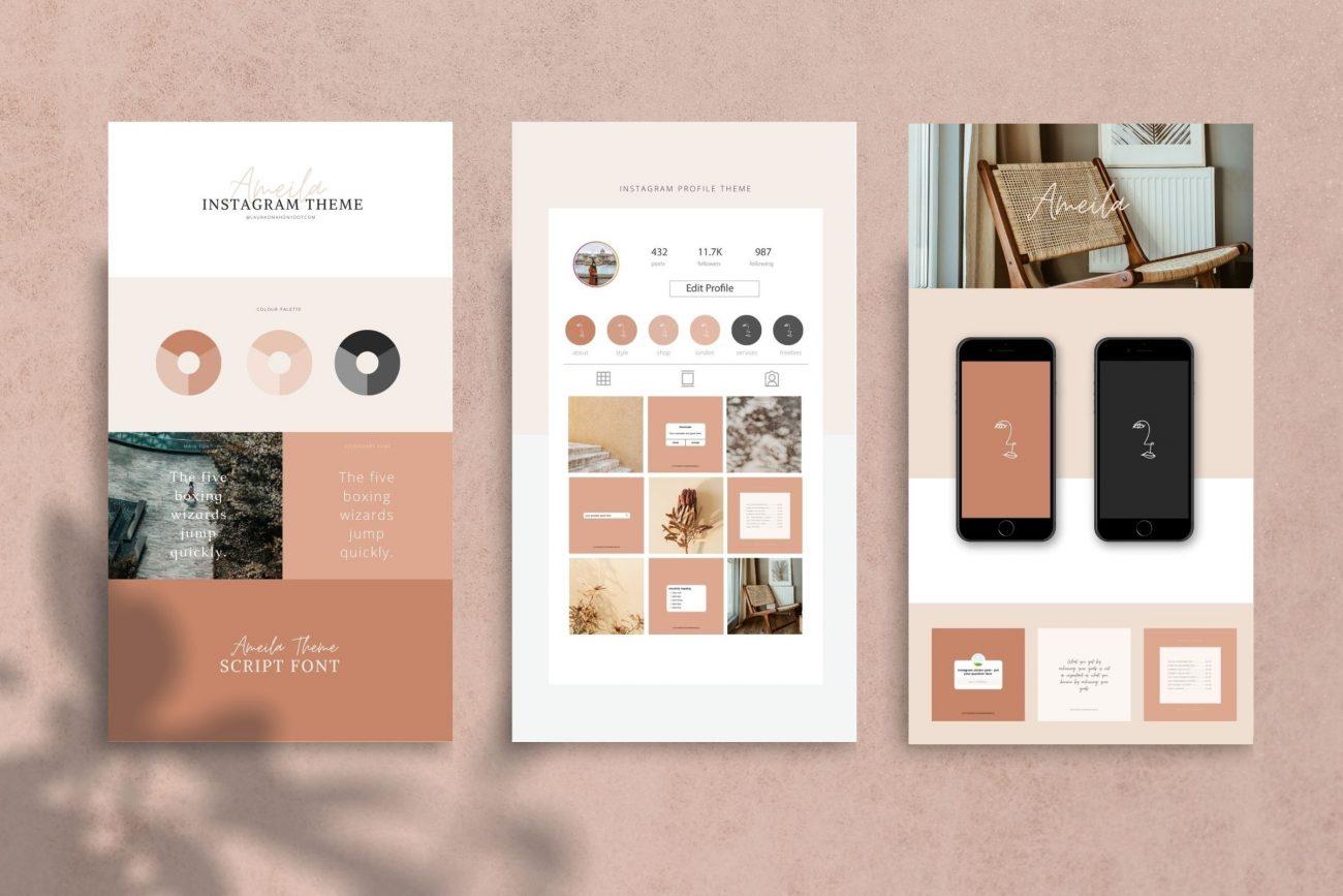 Ameila Instagram Theme Makeover Kit laura o' mahony