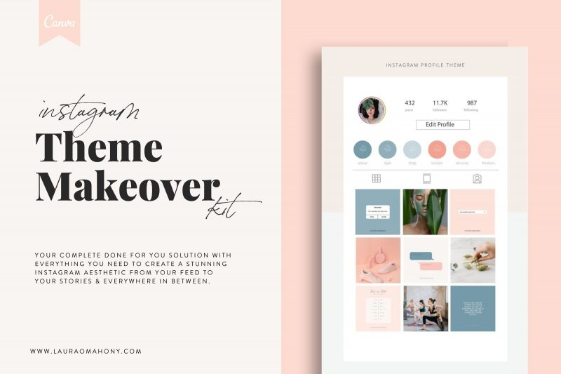 Lucille Instagram theme makeover kit aesthetic creator theme creator template lauraomahonydotcom canva template engagement templates 1