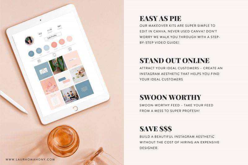 Lucille Instagram theme makeover kit aesthetic creator theme creator template lauraomahonydotcom canva template engagement templates 7