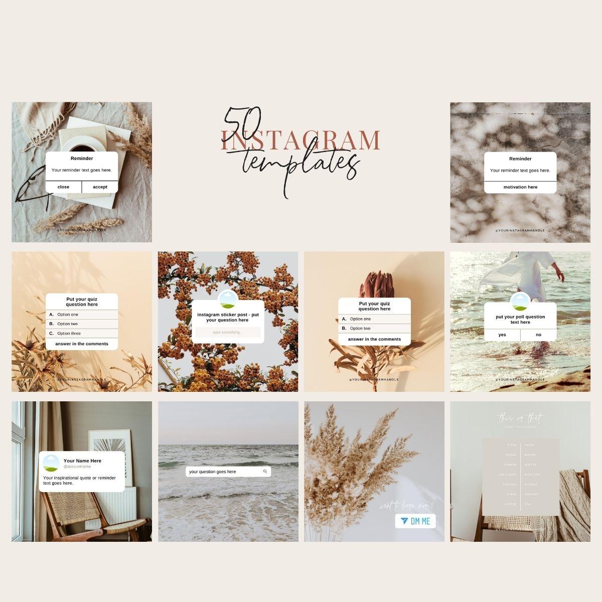 50 Instagram templates from laura o' mahony marketing